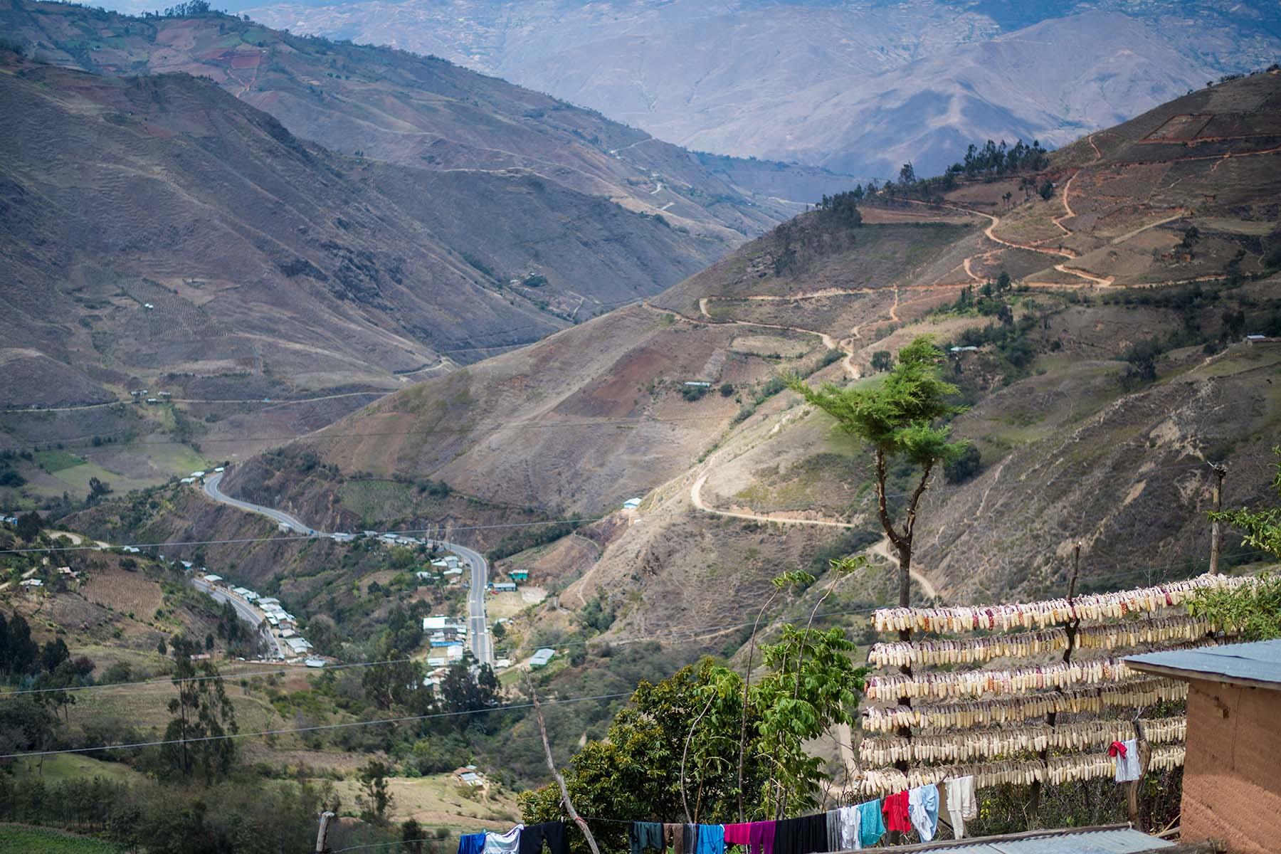 照片中在家外排成一列列的干玉米,是这里重要的营养来源。(秘鲁,Sogobamba)